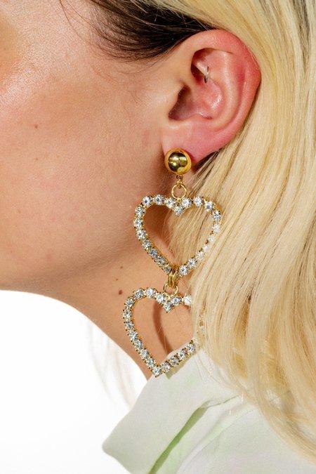 LARUICCI Double Crystal Heart Earrings