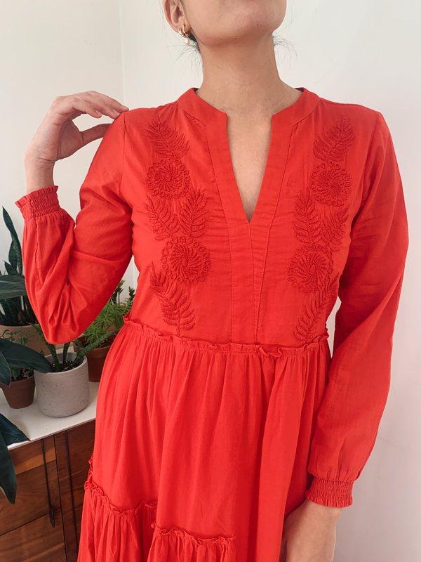 Veda Casita Cotton Dress - TOMATO