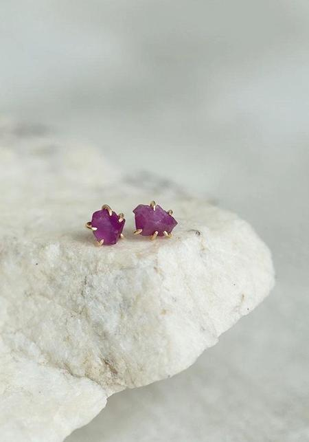 Variance Objects Ruby and 14KT Small Stone Studs