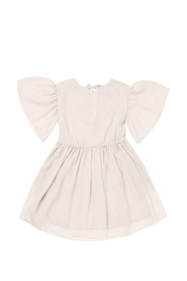 Kids Omamimini Fit & Flare Ruffled Sleeve Dress - Cream