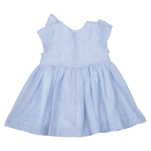 kids Pink Chicken Cher Dress - Blue Seersucker