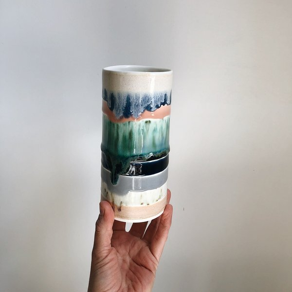 The Object Enthusiast Colorful Striped Cylinder Vase