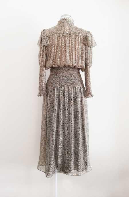 Bibliotheque Silk Long Dress - Brown/Ecru Print