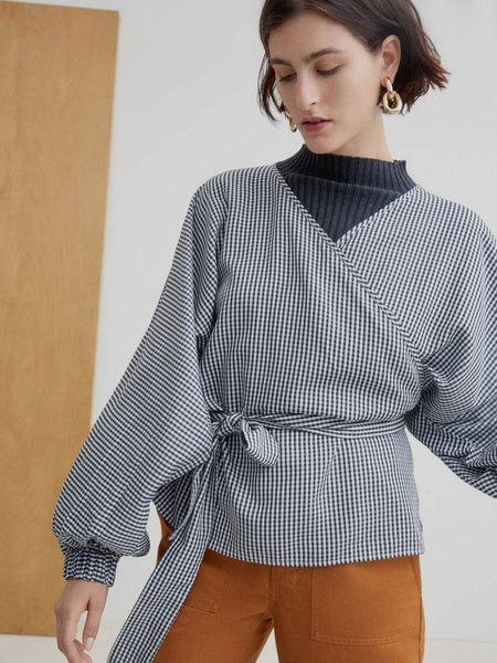 Kowtow Moma Wrap Top - Gingham