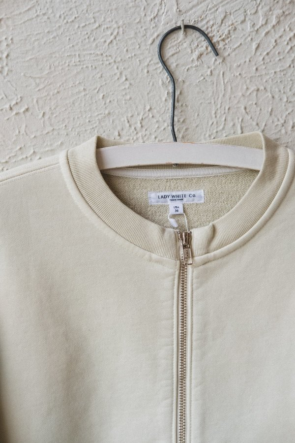 Lady White Co. ZIP CARDIGAN - BONE