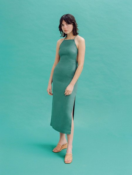 PALOMA WOOL CARLOTA DRESS - GREEN LINEN