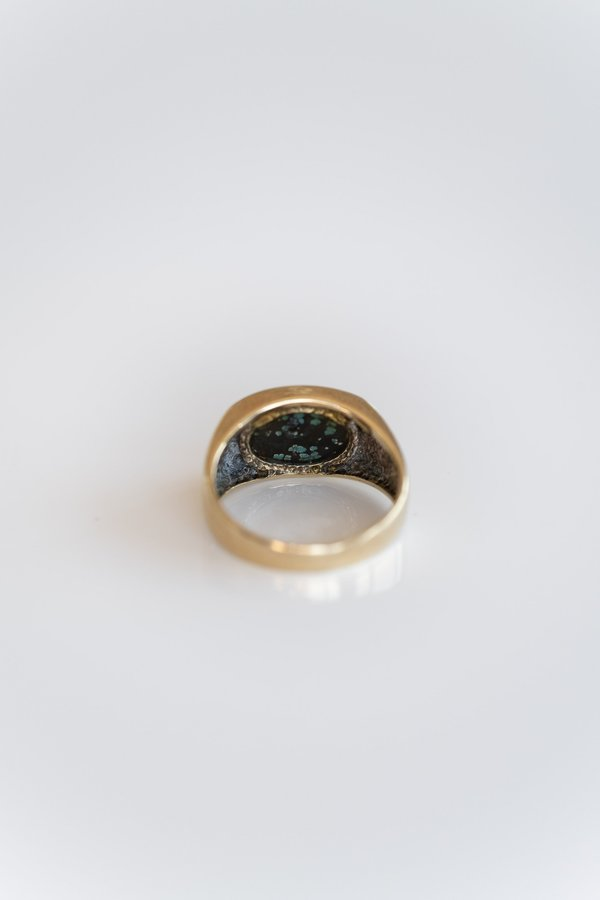 Vintage VEINY TURQUOISE SIGNET RING - 10K Gold