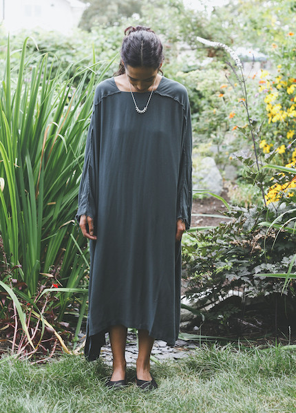 Black Crane Dome Dress in Dark Shadow