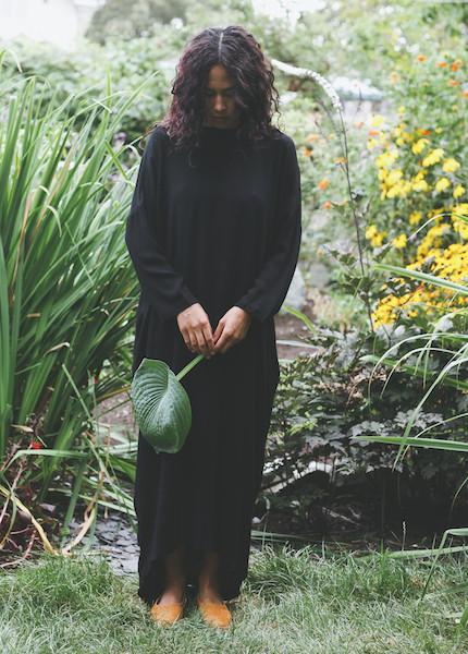 Black Crane - Pleated Cocoon Dress in Black