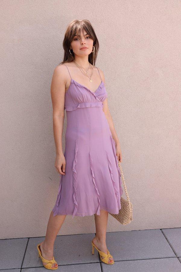 Vintage Silk Ruffle Dress - Lilac