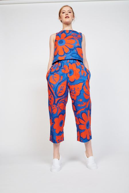 WHiT Desi Pant - Ashbury Floral Red/Blue