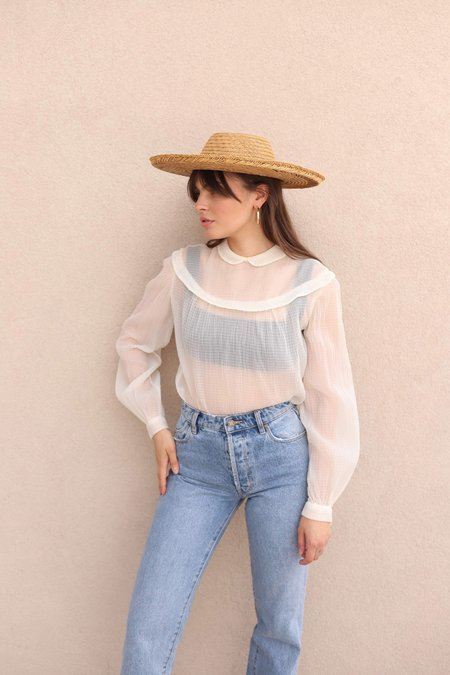 Vintage Cream Textured Sheer Blouse - White