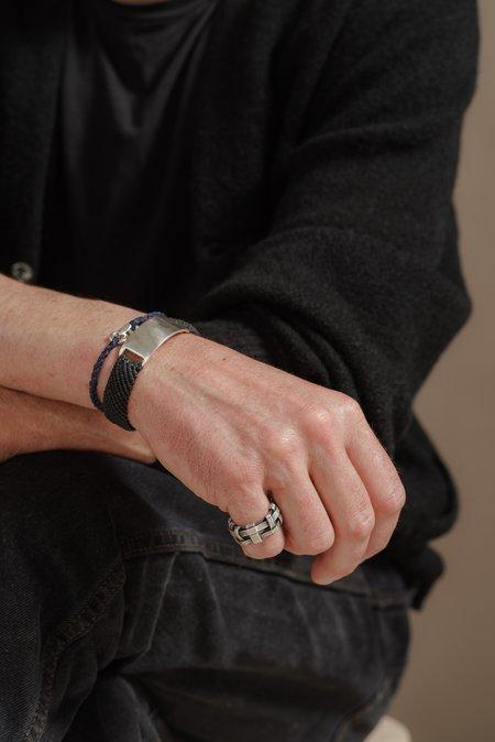 Scosha STERLING SILVER BELT ID BRACELET - BLACK