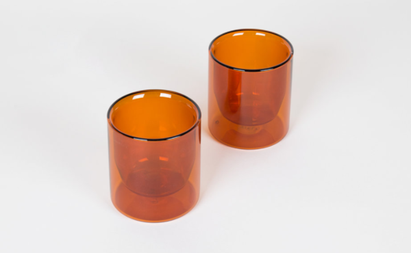 Amber Double-Wall 6oz Glasses - Set of 2