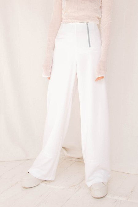 I Am That Shop Collect Call Textured Zipper Pant - White