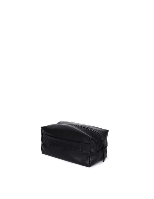 Ann Demeulemeester Leather Wash Bag - black