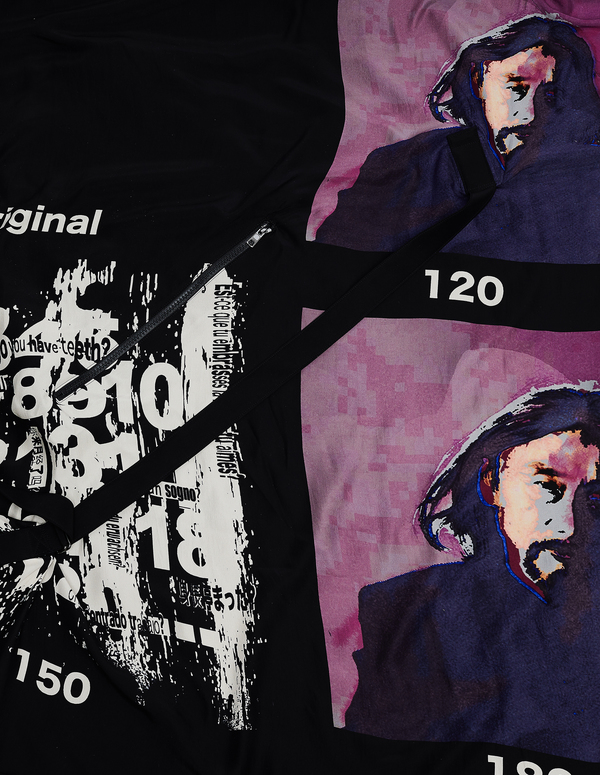 Y's by Yohji Yamamoto Silk Printed Bag - black