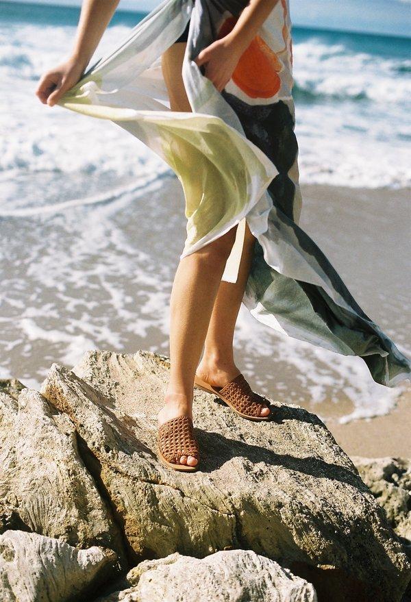 Nelson Made Helena Woven Slide - Tan