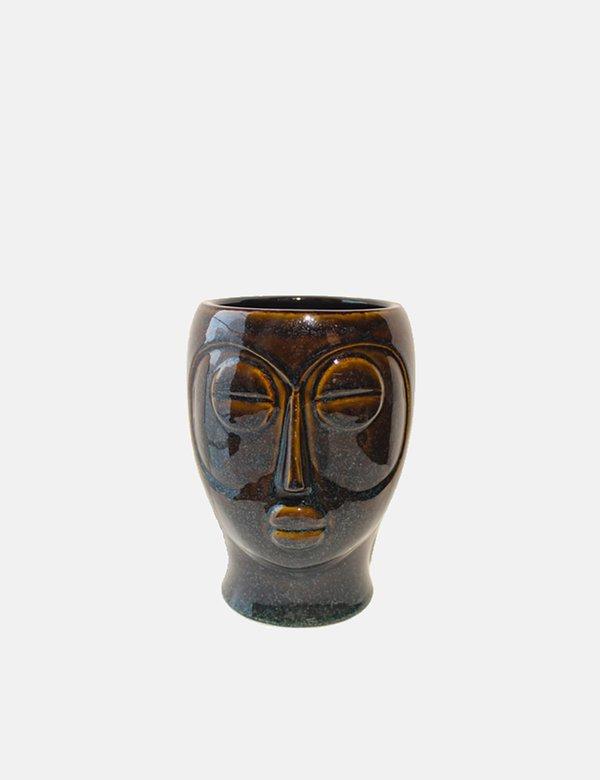 Article. Present Time Mask Plant Pot in Glazed Porcelain - Dark Brown