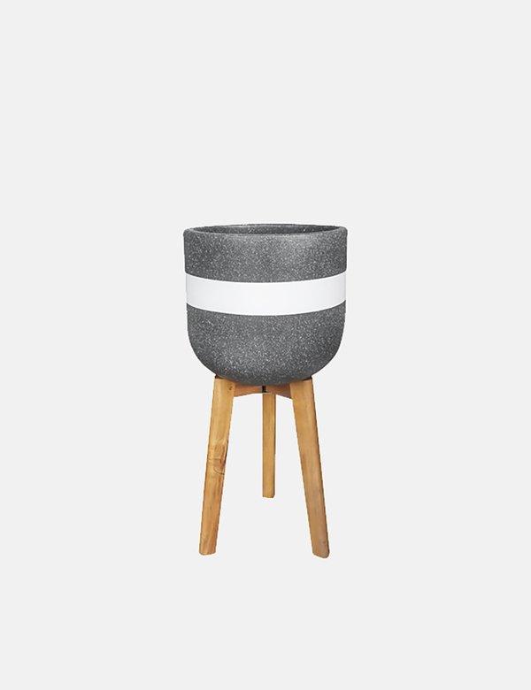 Article. Present Time Radius Plant Pot in Fibre Cement - Black