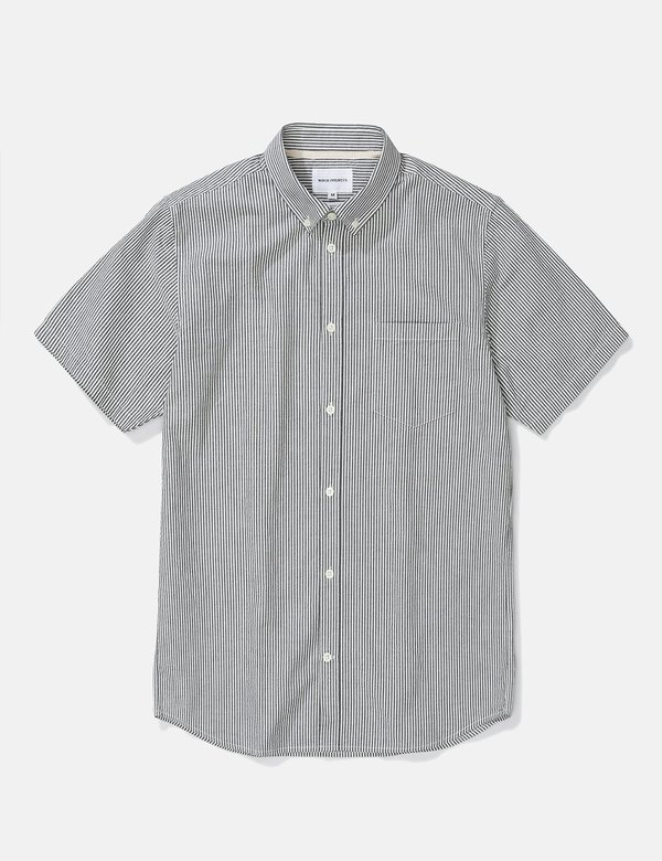 Norse Projects Osvald Seersucker Short Sleeve Shirt - Navy Stripe