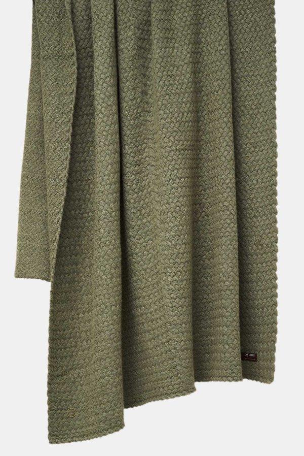 Oyuna Scala Lattice Knit Heavy Cashmere Throw - Moss