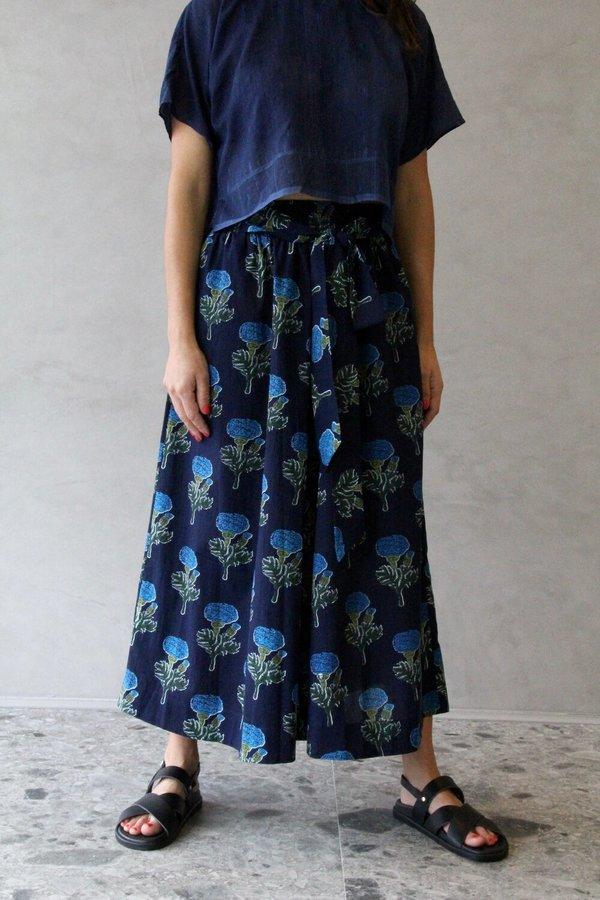 Aish Cotton Loulou Skirt - Blue Marigold