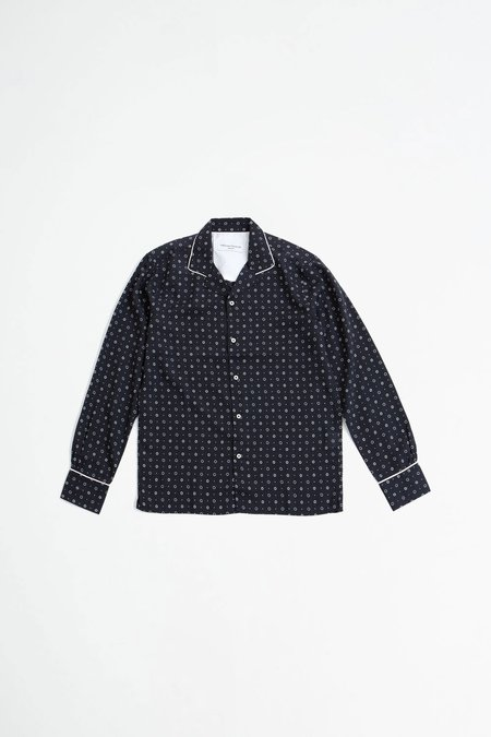 Officine Generale Dario shirt piping printed tencel - b/w