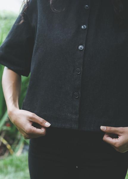 Ursa Minor - Tilly Denim Blouse in Black Denim