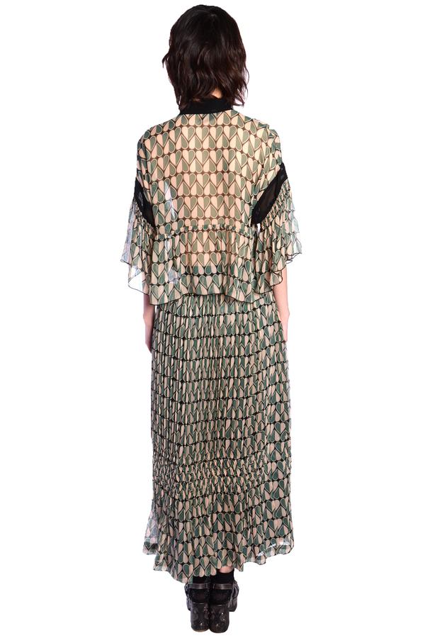Anna Sui Hearts Crinkle Chiffon Pleated Skirt