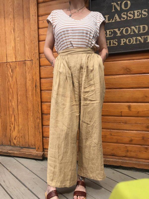 Black Crane Sack Linen Pants