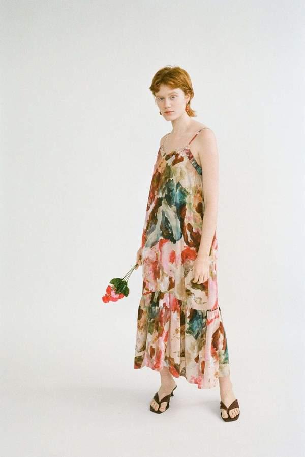 Wray Gathered Slip Dress - Painted Print