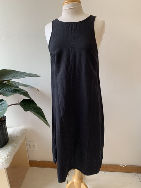 [pre-loved]  LACAUSA Reversible Button Dress - washed black