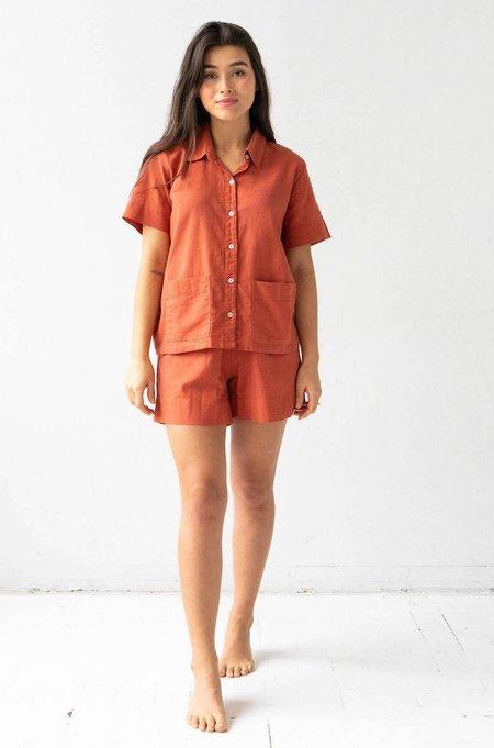 Salua Atelier Lingerie Woven Patch Pocket Shortie Pajamas