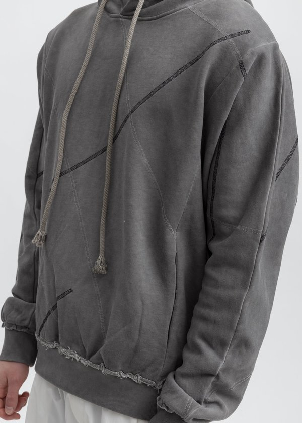 Faineant Dyed Stitch Detail Hoodie - Grey