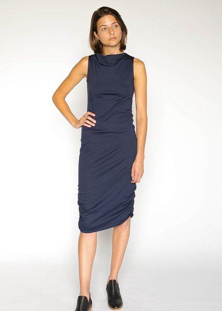 A.Oei Draped Neck Dress - Navy
