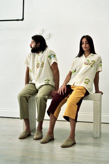 Unisex BODE Hand Painted Landscape Silk Shirt - Ecru