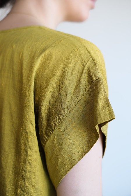 VINTAGE RAW SILK TOP - CHARTREUSE