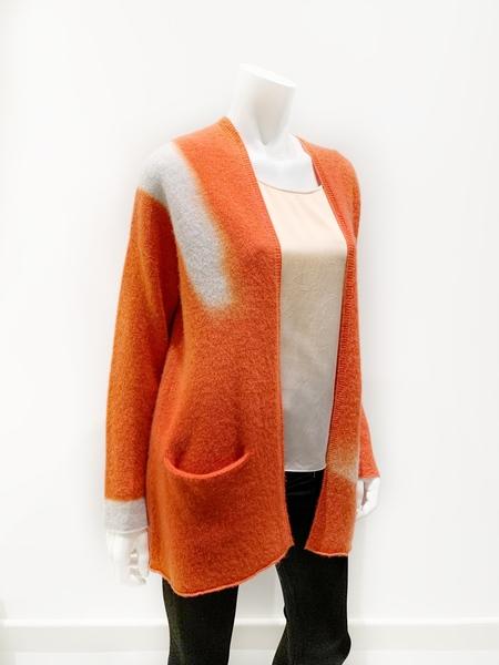 Suzusan cashmere cardigan shibori dyed - orange/light gray