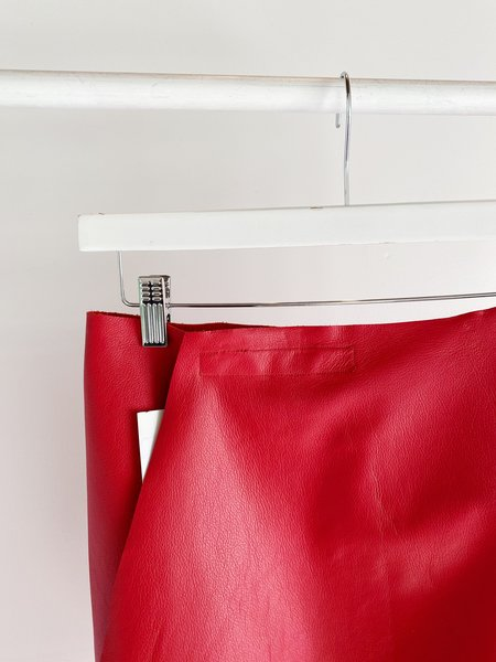 Ashley Rowe LEATHER WRAP SKIRT - RED