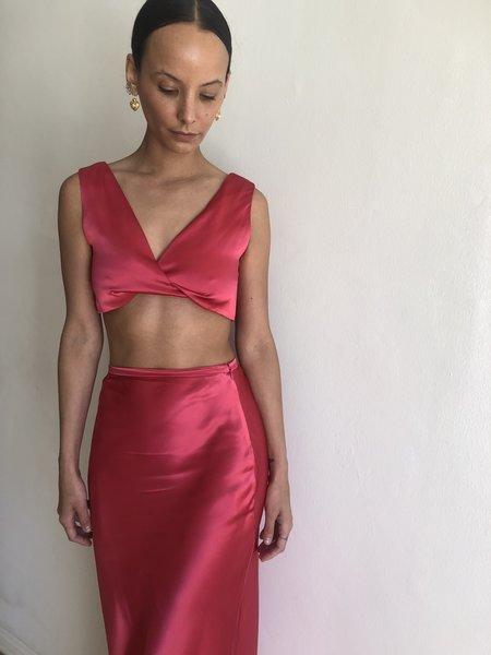Collina Strada Twist Top - Hot Pink Satin