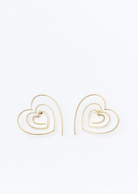 Y/project Heart Hoop Upside Down Earrings - Gold
