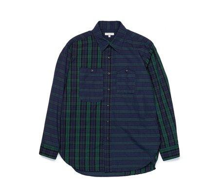 Engineered Garments Work Shirt with Blackwatch Madras Patchwork - navy