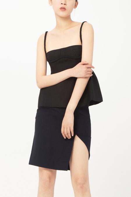 Shushu Tong Slit Skirt - Navy Blue