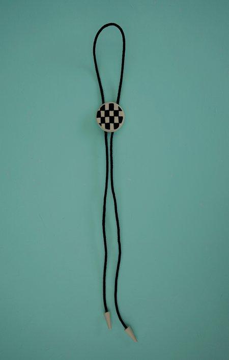 Studio Hecha Checkered Handmade Ceramic Bolo Tie - Black/White