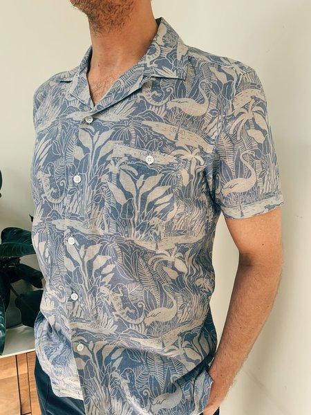 Far Afield Selleck S/S Linen Shirt - SALINES BLUE