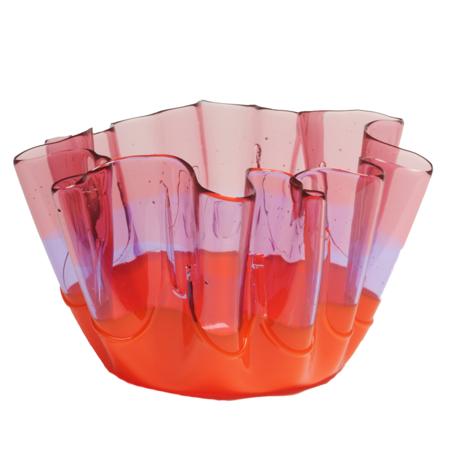 CORSI Medium Sfumati Vase - Clear Pink/Clear Lilac/Matte Orange