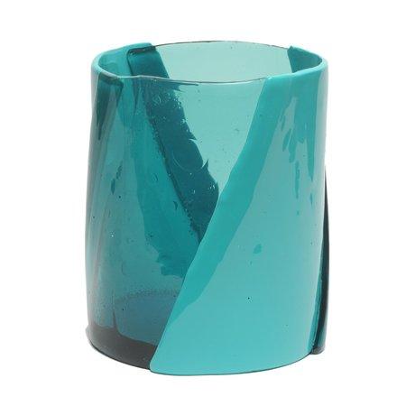 CORSI Medium Twirl Vase - Clear Aqua/Matte Turquoise