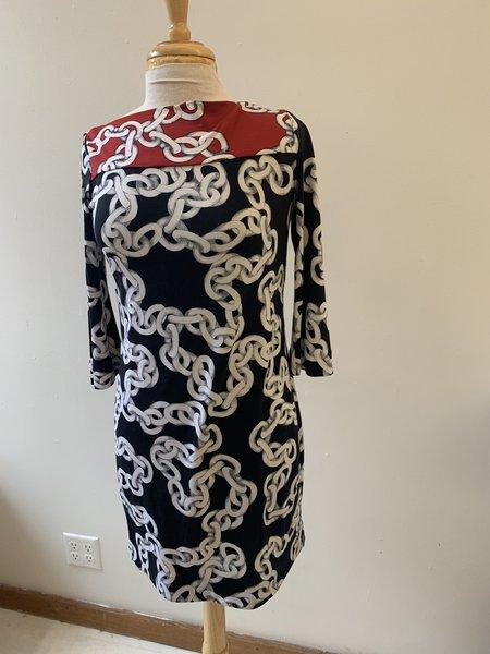 [Pre-Loved] Diane von Furstenberg Chain Print Dress - black/red