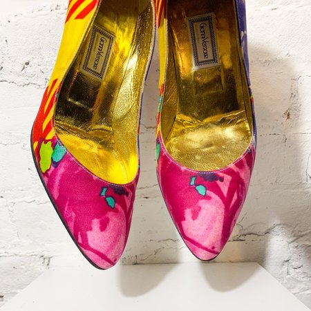 [pre-loved] Gianni Versace Printed Pumps - pink